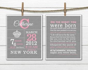 Birth Stats - Crown Birth Announcement Wall Art Set  8x10 or 11 x14