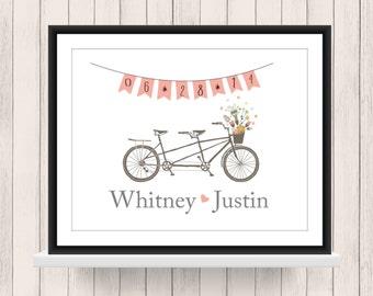 Wedding Gift - Bridal Shower Gift - Tandem Bike Print - Home Decor - Engagement Gift