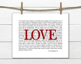 Wall Art 1 Corinthians 13  Love Scripture 8x10 printable Instant Download