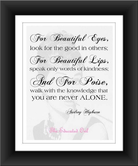 Audrey Hepburn Quote For Beautiful Eyes 8x10 Pdf Digital Download