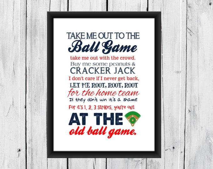 Baseball Print Take me out to the Ballgame - Pick your Team - Baseball Nursery CANVAS AVAILABLE