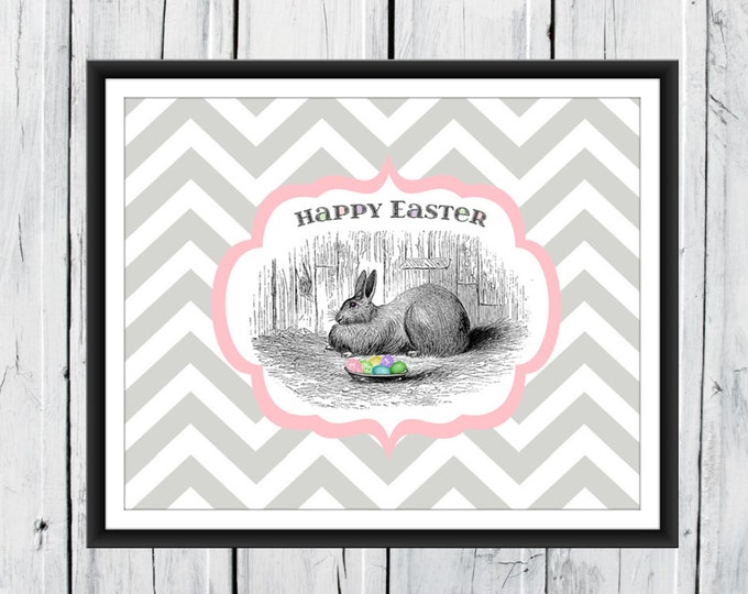 Easter Print - Easter Bunny Print- Easter Decor - Chevron Background