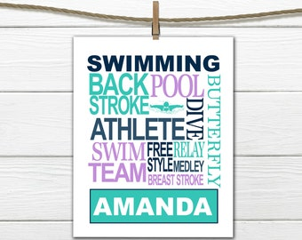 Swimmer Word Art Print - Custom Colors -  Swimming Print - Personalized  Female Swimmer