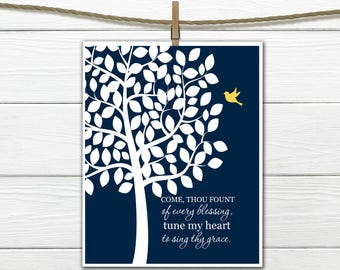 Christian Hymn Wall Art - Come Thou Fount of Every Blessing - Christian Print - Sing Thy Grace