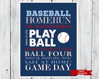 Baseball Word Art Print Custom Colors Digital Download