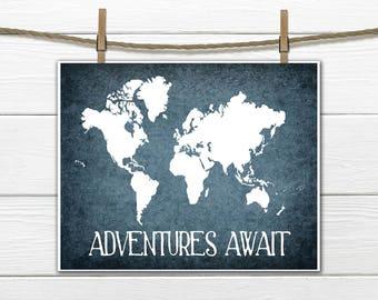 World Map Print -  Adventure Awaits  - INSTANT Download PDF 8x10