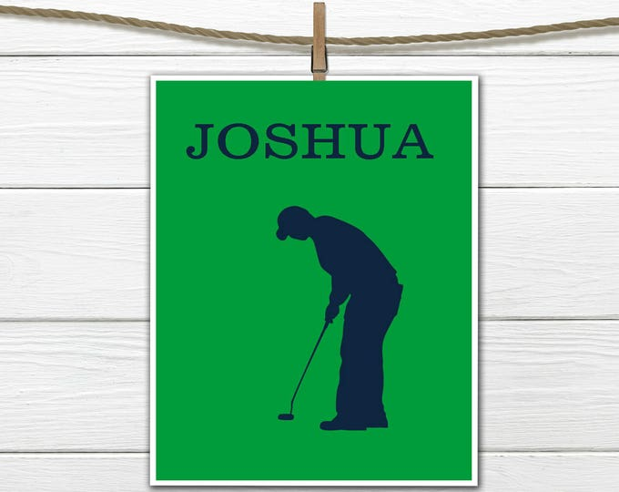 Golfer Silhouette -  Golf Print -  Personalized Golf Print Canvas Available
