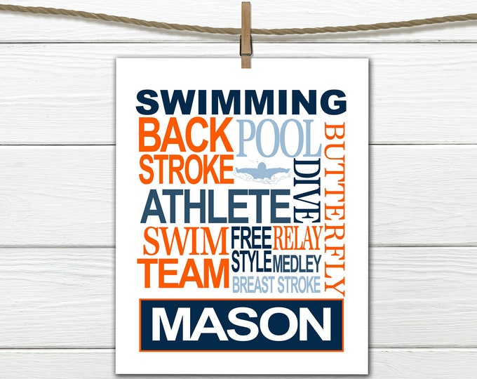 Swimmer Word Art Print - Custom Colors -  Swimming Print - Personalized Male Swimmer