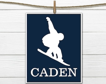 Snowboarder   Sports Silhouette- Snowboarding  - Custom Print -  Personalized