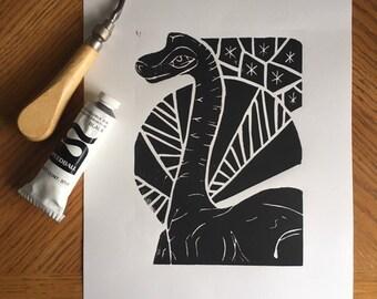 Upcycled 3 Months Gray with RedWhiteBlue Trucks Retro Brontosaurus Hand Printed Linocut Baby Onesie