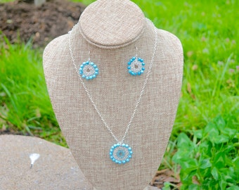 INTI - Set of Crocheted Turquoise Jewelry/ Sterling Silver/ Natural Stones