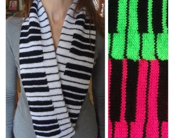 129cabe2855 Piano Scarf - Hand Knit - 88 Keys - Piano Teacher - Music Lover - Gift -  Black and White - Custom Made - In Progress