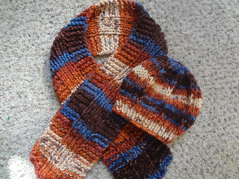 Browns Hand Knit- Beanie Rusts Blues Hat with Matching Scarf
