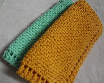 2 Dish Cloths - Mint and Gold - Cotton - 3 Sizes Available - Hand Knit - Custom Made - Mint Green