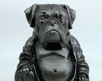 Boxer Dog - Buddha Statue (Hammered Iron Paint Job)