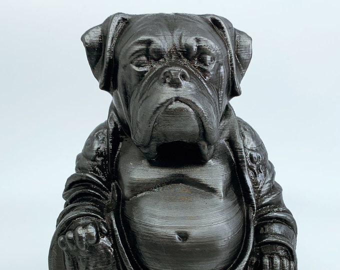 Boxer Dog - Buddha Statue (Hammered Iron Paint Job)