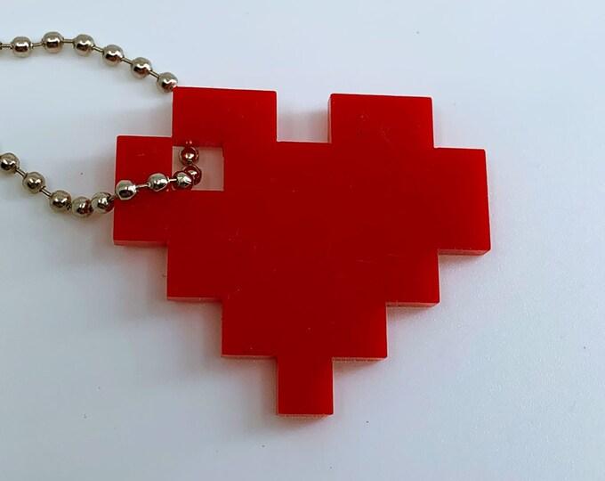 8 Bit Heart Logo - Keychain