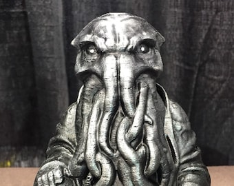 Cthulhu Buddha - Fan Art Sculpture - Hammered Iron Faux Finish