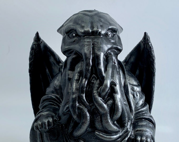 H. P. Lovecraft's Cthulhu Buddha | H. P. Lovecraft | Cthulhu Figurine | Novelty Gift | Mythos Creature | The Call of Cthulhu Hammered Iron