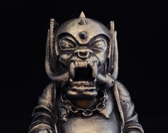 Motorhead - War Pig Buddha - Fan Art Sculpture - Hammered Iron Faux Finish