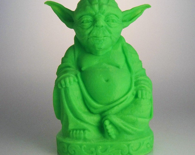 Star Wars Inspired Yoda Buddha | Star Wars | Yoda Figurine | Star Wars Gift | Force Be With You | Star Wars Statue | Glow in the Dark Green