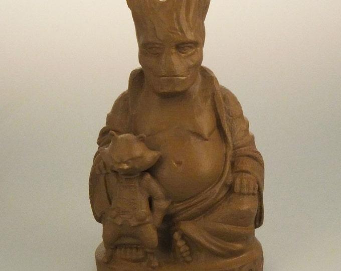 Groot & Rocket Raccoon Buddha (Nutmeg Brown)