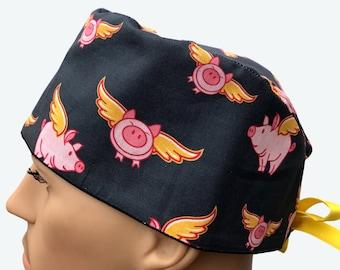 68d4bdddf1da8 Flying Pigs with Gold Wings on Grey Scrub Hat