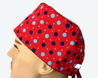 3fa097d95fc Sky Blue and Navy Blue Polka Dots on Red Scrub Hat, scrub hat, Fancy Scrub  Hat, Vet Tech Scrub Hat, Nurses hat, Nurse's Gift, Scrub hats