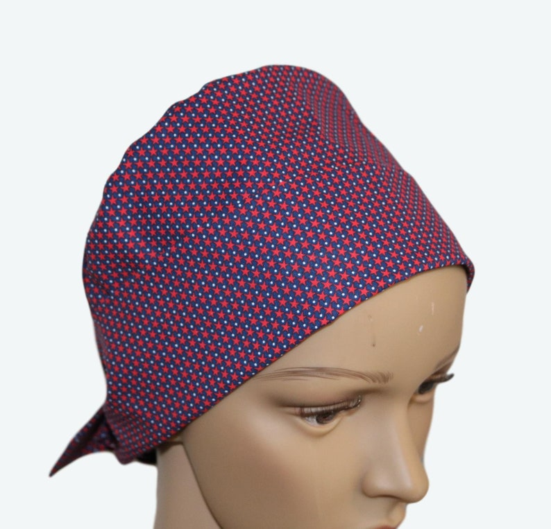 Small Red Stars on Blue Pixie Tie-back Scrub hat Fancy Design image 0