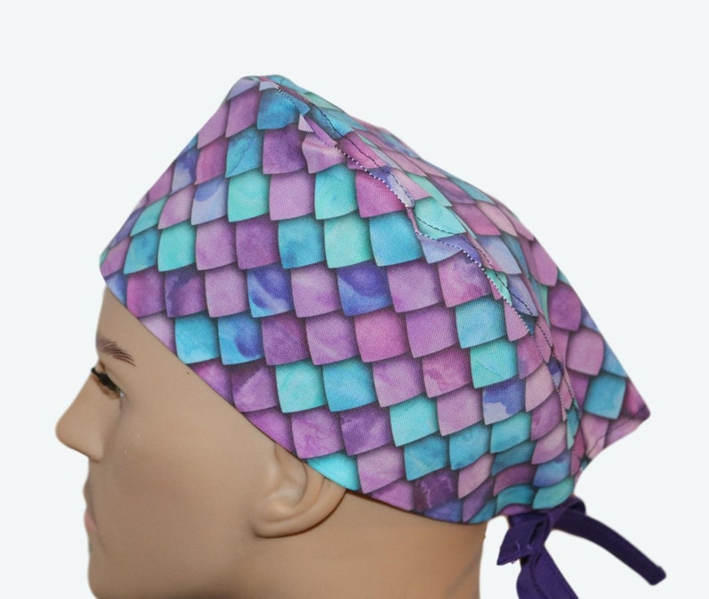 Ombré Purple & Blue Scales Scrub Hat animal personalized image 0