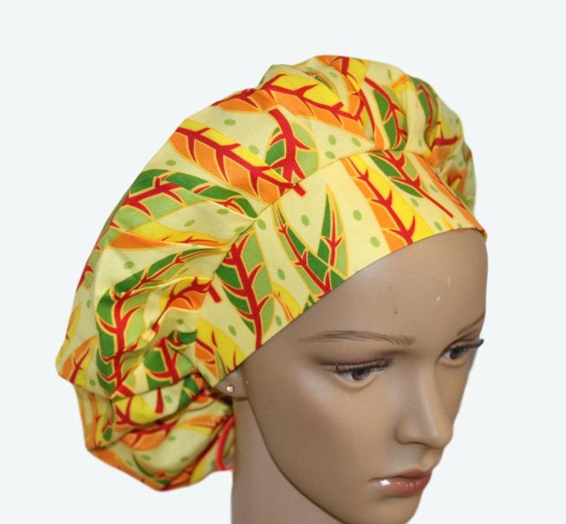 Elegant Garden Yellow Floral Bouffant Scrub Hat Cute Delicate image 0