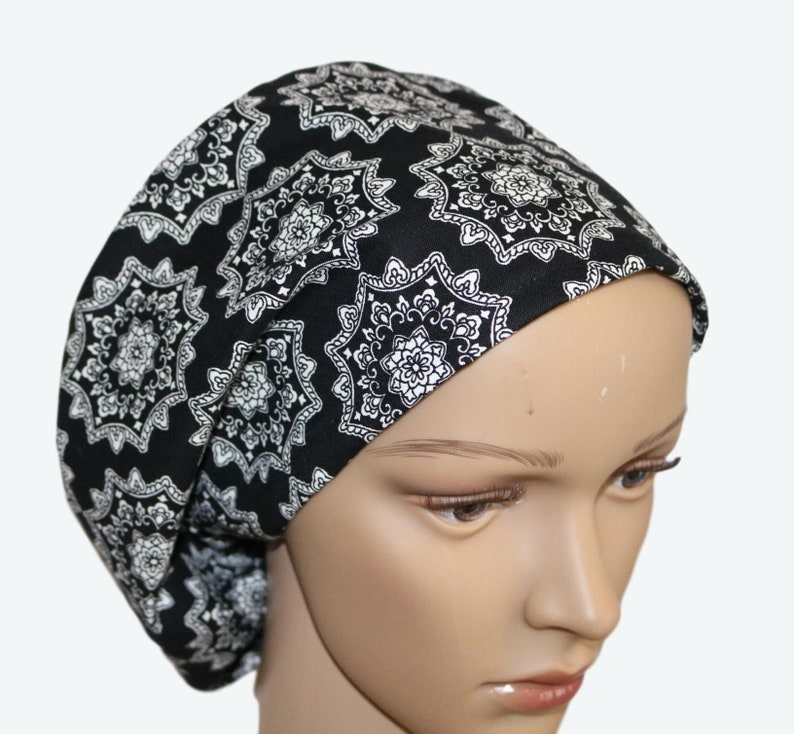 Flowers and Intricate Black and White Euro Scrub Hat for image 0
