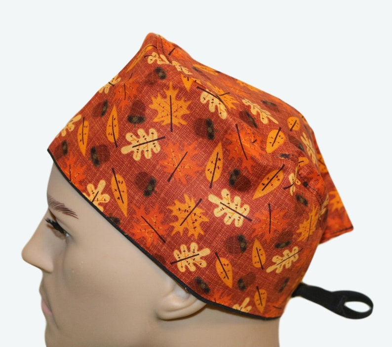 Fall Leaves and Acorns Scrub Hat Thanksgiving scrub hat image 0