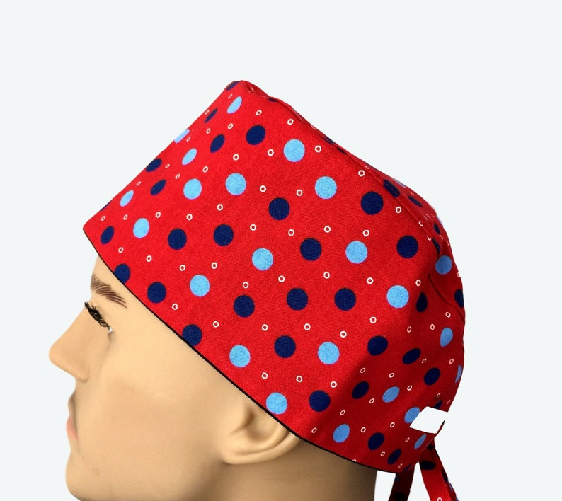 fb59c7a9400 Sky Blue and Navy Blue Polka Dots on Red Scrub Hat scrub hat