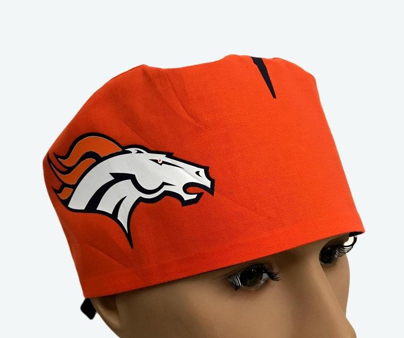 39f54bce0 Denver Broncos Inspired Helmet , Broncos Scrub Cap, scrub hat,Nurses hat,  Scrub hats, scrub caps, Personalized scrub cap