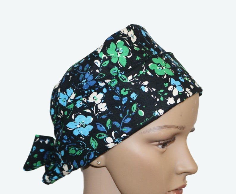 Leafy Floral on Black Designs Pixie Tie-back Scrub hat Flower image 0