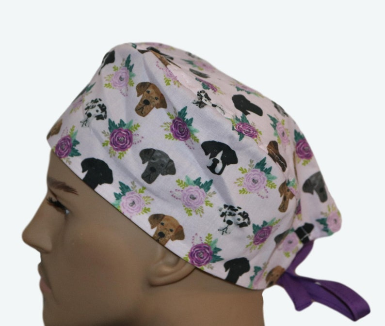 Great Dane Dogs & Flowers Floral Dog Scrub HatColorful Dog image 0