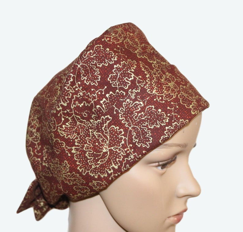 Metallic Fall Leaves on Brown Pixie Tie-back Scrub hatFall image 0