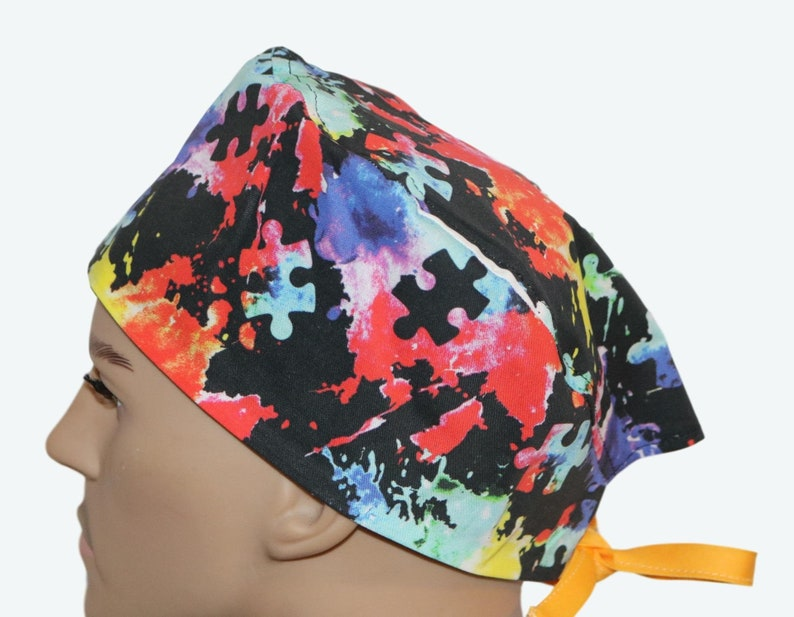 Autism Awareness Colorful Puzzle Pieces Paint Scrub Caps image 0