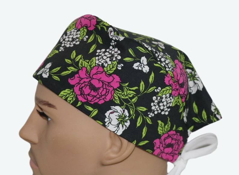 Cute Pink White Flowers on Black Scrub Caps Women Flower image 0