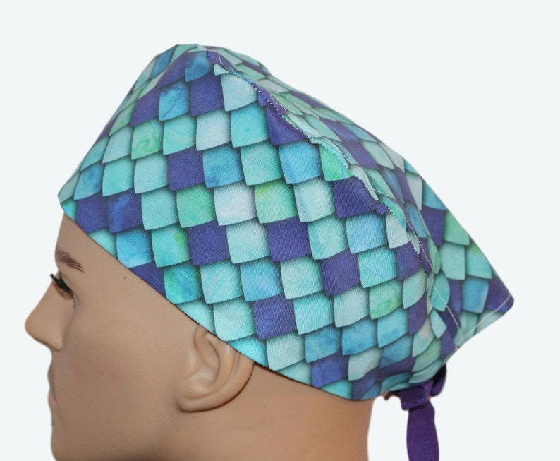 Ombré Green & Blue Scales Scrub Hat animal personalized image 0