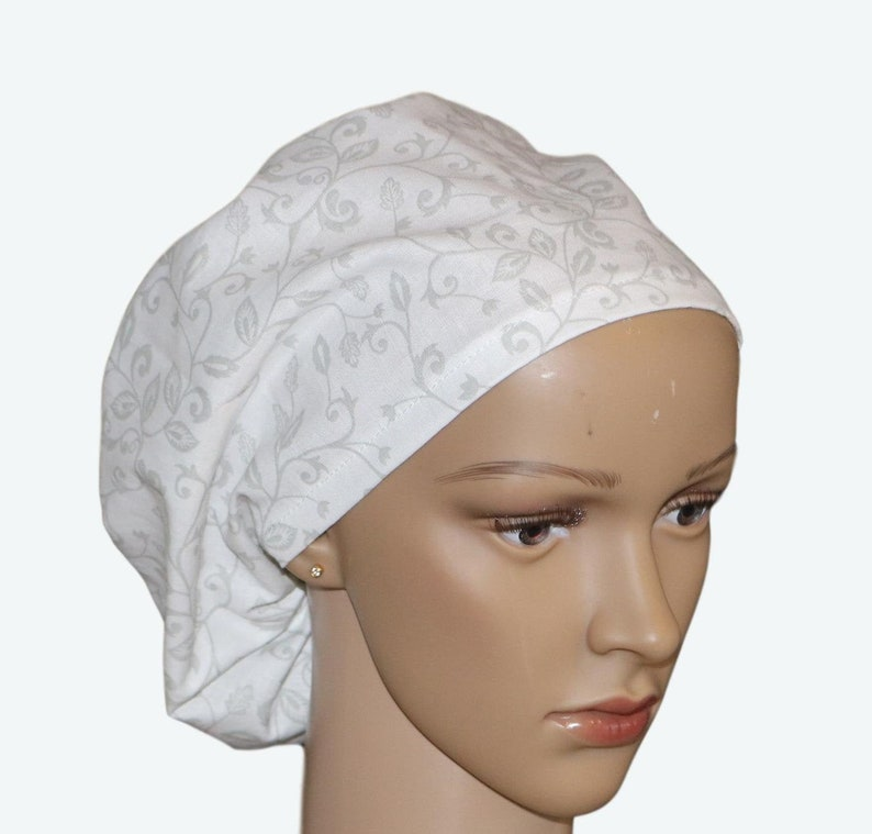 Flowers and Intricate Grey and White Euro Scrub Hat for women image 0