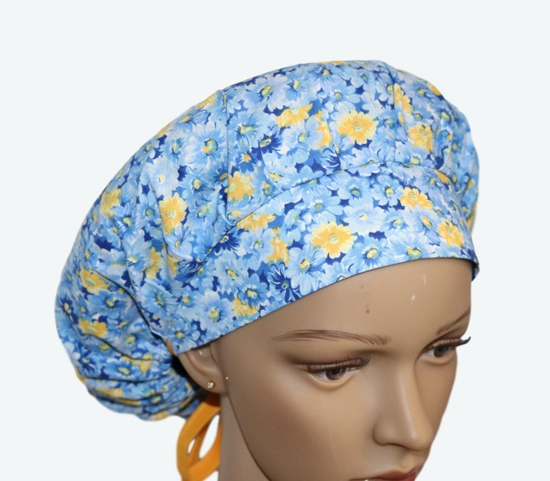Yellow Daisies on Blue All Over Bouffant Scrub Hat Cute image 0