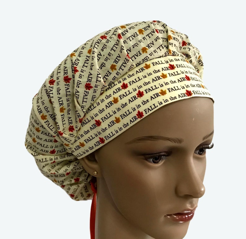 Fall is in the Air Bouffant Scrub Hat Thanksgiving Fall image 0