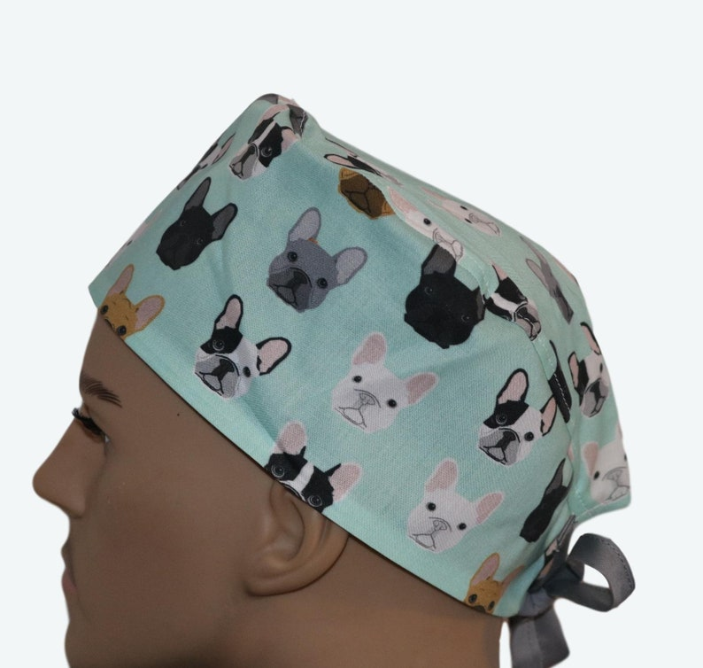 French Bulldogs Frenchie Mint Dog Scrub Hat Colorful Dog image 0