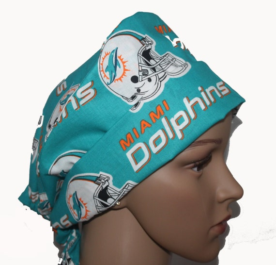 2b5715ad61f Miami Dolphins Football Pixie Tie-back Scrub hat Surgical