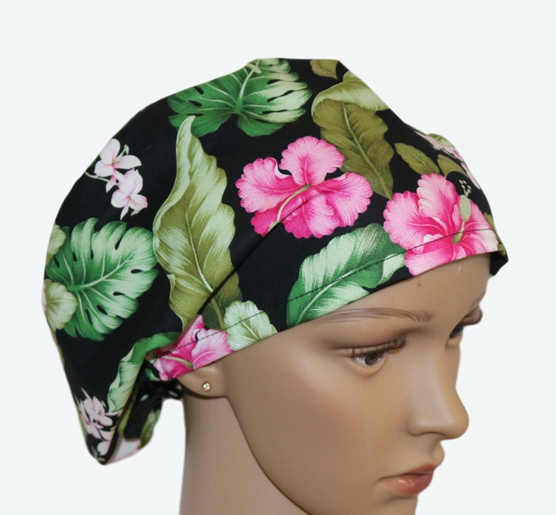Bright Pink Hibiscus Flowers on Black Euro Scrub Hat for image 0