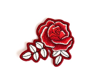 Large Embroidered Rose Patch - Handmade Red Rose Flower Patch