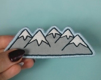 Embroidered Mountain Patch -Large Mountain Range Embroidery Skiing Hiking Camping Patch