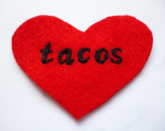 Tacos Embroidered Patch - Red Heart Patch for Taco Lovers